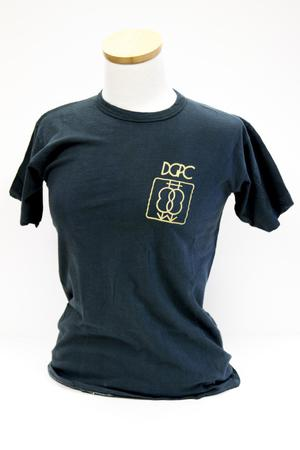 Black t-shirt with the letters DGPC on the left breast of the shirt and graphic on the bottom of it.