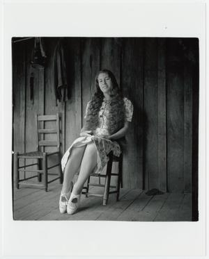 Primary view of object titled '[Erma Welch on her porch]'.