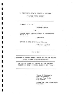 Primary view of object titled '[Amicus Brief Pertaining to the Case of Baker vs. Wade, cause no. 82-1590, 1980.]'.