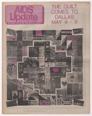 A news page, with the words AIDS Update on it in pink letters and box. The right corner of it says The Quilt Comes To Dallas in pink letters. Under it is a quilt pattern in black and pink.