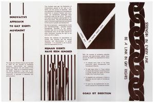 Brochure with a line of chains on the farthest right side and the words Strength In Every Link on the side. A graphic on the second quarter of the page shows an outline of two people with bars in front of them.