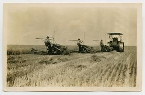 Primary view of object titled '[Three Men Using Farming Equipment]'.