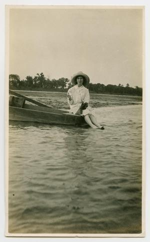 Primary view of object titled '[Woman Sitting in a Boat]'.