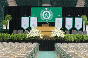 Primary view of object titled '[Photograph of Coliseum before UNT Commencement]'.