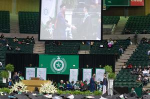 Primary view of object titled '[Graduation stage at UNT Coliseum]'.