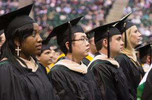 Primary view of object titled '[Graduating students at UNT Fall Commencement]'.