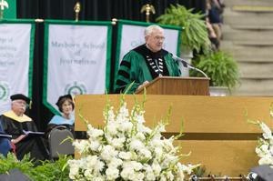 Primary view of object titled '[V. Lane Rawlins speaks at UNT Commencement]'.