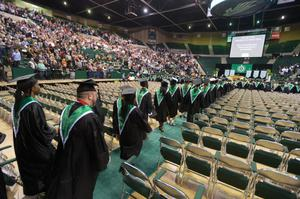 Primary view of object titled '[UNT Fall Commencement procession]'.