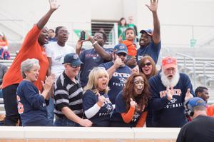 Primary view of object titled '[UTEP fans at UNT Homecoming]'.