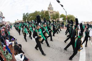 Primary view of object titled '[Marching band from UNT Homecoming parade]'.