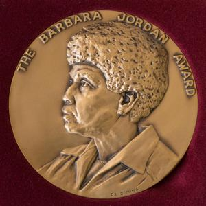 Primary view of object titled '[Photograph of Barbara Jordan Media Award Medallion]'.