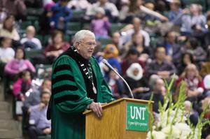Primary view of object titled '[President V. Lane Rawlins at UNT Fall Commencement]'.