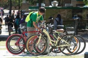 Primary view of object titled '[Bicycles on UNT Campus]'.