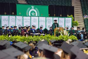 Primary view of object titled '[President Neil Smatresk at UNT Commencement]'.