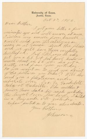Primary view of object titled '[Letter from Johnson to his brother - October 27, 1906]'.