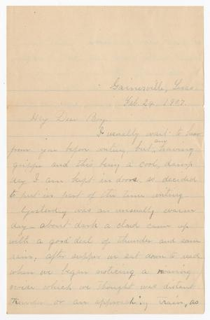 Primary view of object titled '[Letter from Mrs. B. M. Williams to B. M. Williams, Jr. - February 24, 1907]'.
