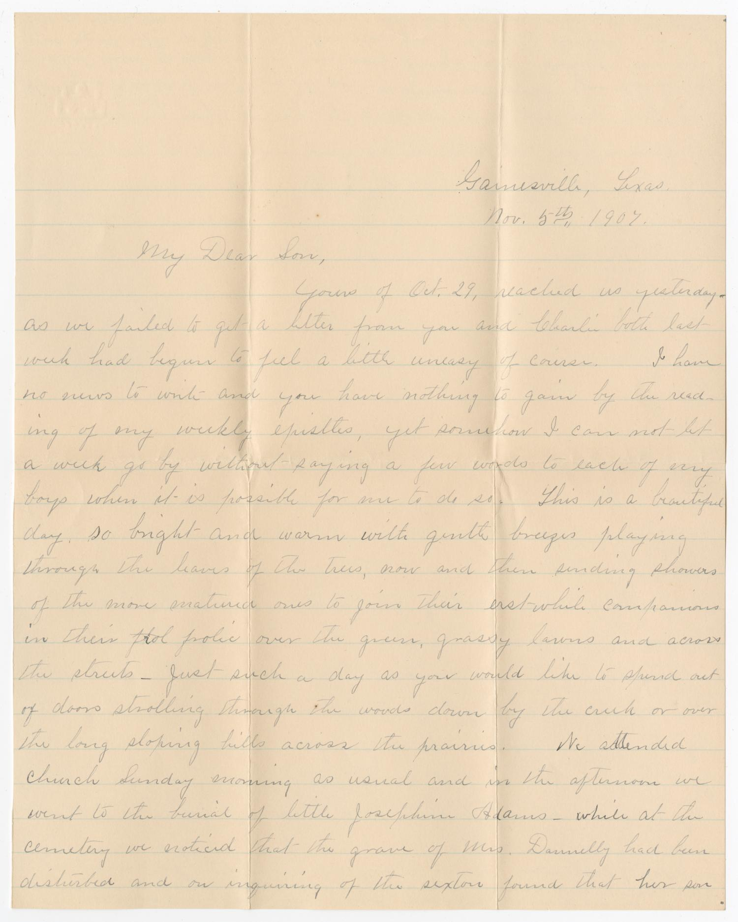 [Letter from Mrs. B. M. Willliams to B. M. Williams, Jr. - November 5, 1907]                                                                                                      [Sequence #]: 1 of 4