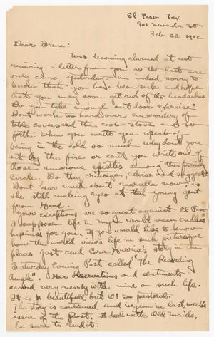 Primary view of object titled '[Letter from Byrd to Irene - February 22, 1912]'.