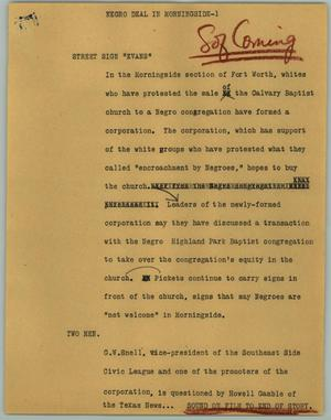 Primary view of object titled '[News Script: Negro Deal in Morningside]'.