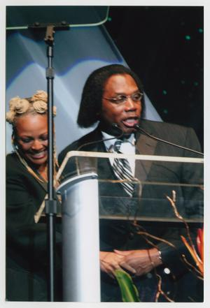 Primary view of object titled '[Kim Fields and Curtis King on Stage]'.