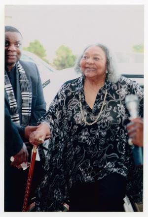 Primary view of object titled '[Juanita Moore Arriving at Event]'.