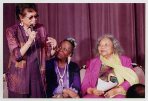Primary view of object titled '[Juanita Moore on Stage with Two Women]'.