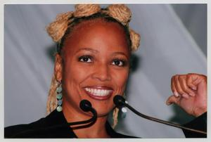 Primary view of object titled '[Kim Fields Smiling on Stage]'.