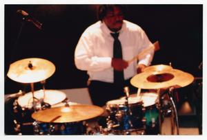 Primary view of object titled '[Drummer Performing on Stage]'.