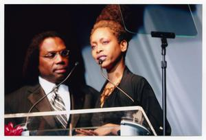 Primary view of object titled '[Erykah Badu with Curtis King at TBAAL Anniversary Gala]'.