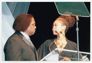 Primary view of object titled '[Erykah Badu and Curtis King at TBAAL Anniversary Gala]'.