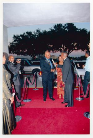 Primary view of object titled '[Roger E. Mosley Arriving on Red Carpet]'.