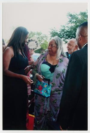 Primary view of object titled '[Della Reese Speaking to Interviewer on Red Carpet]'.