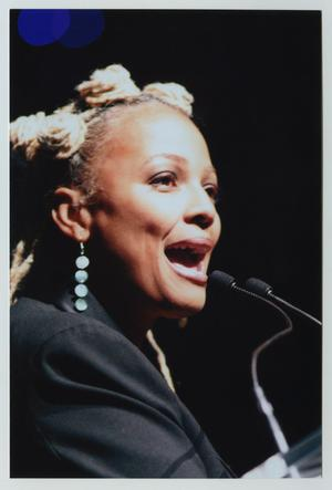 Primary view of object titled '[Kim Fields Speaking on Stage]'.