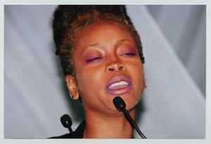 Primary view of object titled '[Erykah Badu at the TBAAL Anniversary Gala]'.