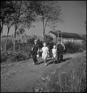 Primary view of object titled '[Boys and girls walking along a country road]'.