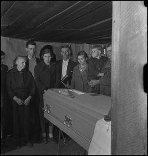 Primary view of object titled '[Mountain Funeral: Viewing the Casket)'.