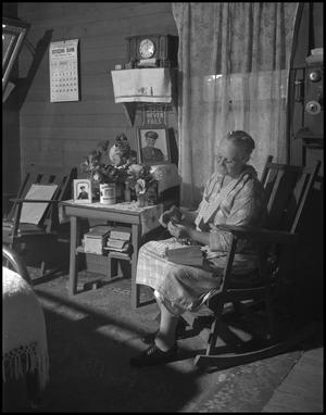 Primary view of object titled '[Aunt Nora Treece sewing]'.