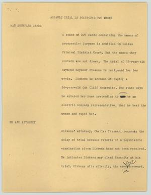 Primary view of object titled '[News Script: Assault trial is postponed two weeks]'.