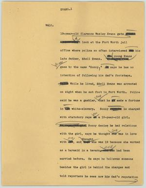Primary view of object titled '[News Script: Evans]'.