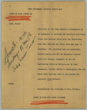 Primary view of object titled '[News Script: Army secretary inspects Wolter AFB]'.