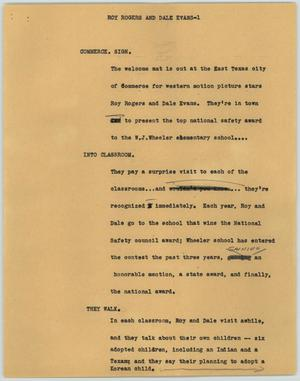 Primary view of object titled '[News Script: Roy Rogers and Dale Evans]'.