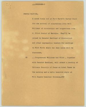 Primary view of object titled '[News Script: Congressmen]'.