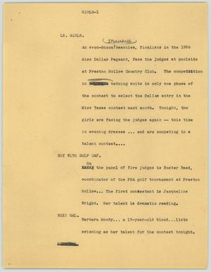 Primary view of object titled '[News Script: Girls]'.