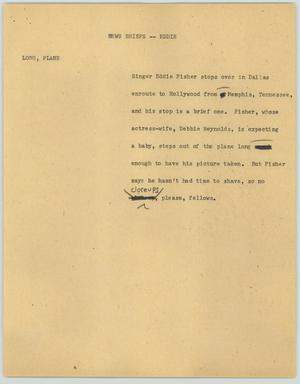 Primary view of object titled '[News Script: News Briefs - Eddie]'.