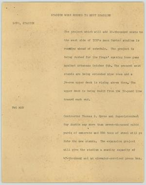 Primary view of object titled '[News Script: Stadium work rushed to meet deadline]'.