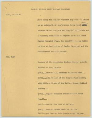 Primary view of object titled '[News Script: Cancer Experts Visit Dallas Hospitals]'.