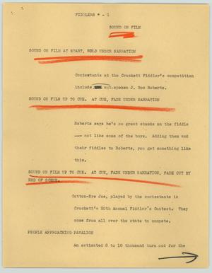 Primary view of object titled '[News Script: Fiddlers]'.