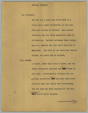 Primary view of object titled '[News Script: Garland deaths]'.