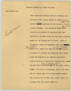 Primary view of object titled '[News Script: Arkansas Diamond is shown in Dallas]'.