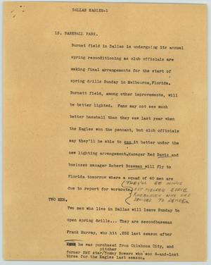 Primary view of object titled '[News Script: Dallas Eagles]'.